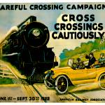 """Careful Crossing Campaigh Vintage Auto Ad"" by Johnny-Bismark"