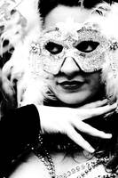 Lady in Carnival Mask BW