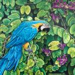"""Blue-Gold Macaw Among The Leaves"" by kathywoolingtonart"