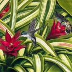 """Hummingbirds and Bromiliad"" by kathywoolingtonart"