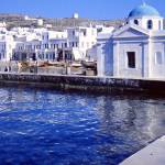 """Harbour with Churches, Mykonos, Greece 1960"" by PriscillaTurner"