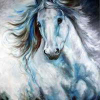 """WHITE THUNDER ARABIAN EQUINE ABSTRACT"" by MBaldwinFineArt2006"