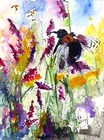 Bumble Bee in Lavender Watercolor by Ginette
