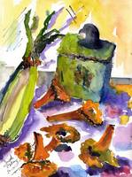 Chanterelles Watercolor Still Life by Ginette