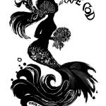 """Spouting Mermaid (B&W)"" by WinnieFitch"