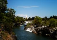 Mormon Temple with waterfalls,..Idaho Falls, Idaho