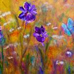"""""""Iris, Wildflowers and Butterfly"""" by artbyclaire"""