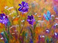 Iris, Wildflowers and Butterfly