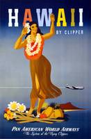 Hawaii By Clipper Pan Am Travel Poster
