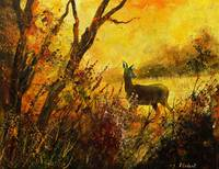 A deer in morning autumnal light