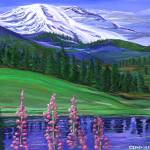 """Landscape of Mountains Trees and Flower Elements"" by stephenthedigitalartist"