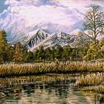"""Mountain, Pond, and  Bird, Oil Painting"" by stephenthedigitalartist"
