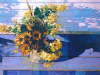 Flowers On Blue Porch