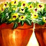 """Watercolor Pansies"" by debbiepaints"