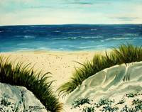 oil beach painting on canvas