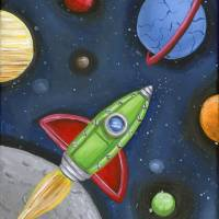 Rocket in Space Art Prints & Posters by Dianne Sammons