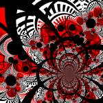 """Red Ventra Twist Abstract Art"" by shanmaree"