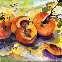 """Peaches ; Bees Painting by Gin"