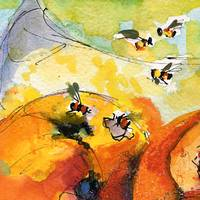 Peaches & Bees Close Up Watercolor by Ginette