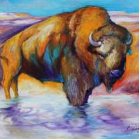 """BUFFALO WATERS"" by MBaldwinFineArt2006"
