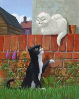 romantic cute cats in garden