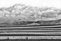 Farms Meet The Colorado Rocky Mountains BW