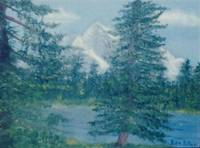 Mountain and Lake with Trees