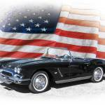 """1962 Chevy Corvette and American Flag"" by minnron37"
