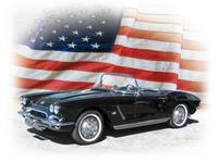 1962 Chevy Corvette and American Flag