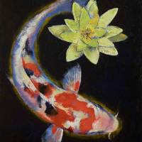 """Koi with Yellow Water Lily"" by creese"