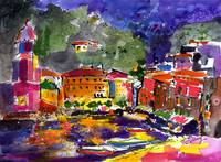 Evening In Vernazza Watercolor by Ginette Callaway