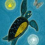 """Sea Turtle and Butterfly (Pinta Blue Version)"" by MickSylvestre"