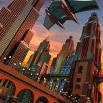 """""""Retro Futuristic Fantasy Cityscape 1"""" by andylackow"""