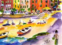 Vernazza Beach Stroll Watercolor by Ginette Callaw