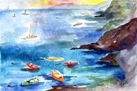 Cinque Terre Boating Watercolor by Ginette Callawa