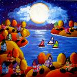 """Fall Night Sail Full Moon"" by reniebritenbucher"