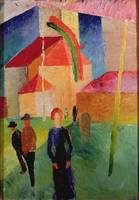 Church Decorated with Flags by August Macke