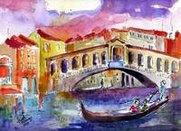 Remembering Love in Venice Watercolor by Ginette