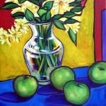 """Yellow daises and four granny smith apples"" by claytonARTSTAR"