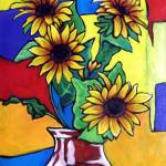 """four sunflowers in red vase"" by claytonARTSTAR"
