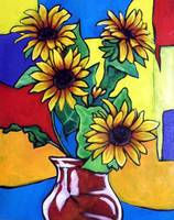 four sunflowers in red vase