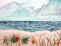 tropical beach painting art print