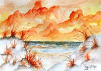 watercolor beach painting art print