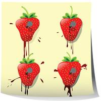 Strawberries nailed on paper