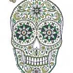 """green sugar skull"" by staceycreek"