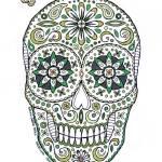 """green sugar skull"" by staceycreek"
