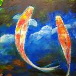 """Koi Fish Cloud Reflections"" by mazz"