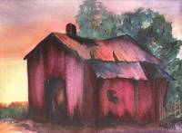 SMALL PAINTING BARN AT DUSK
