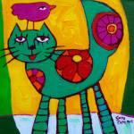 """THE  LOVE  CAT"" by saracatenacolorfulart"