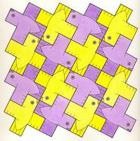 greek cross birds, yellow and violet tessellation